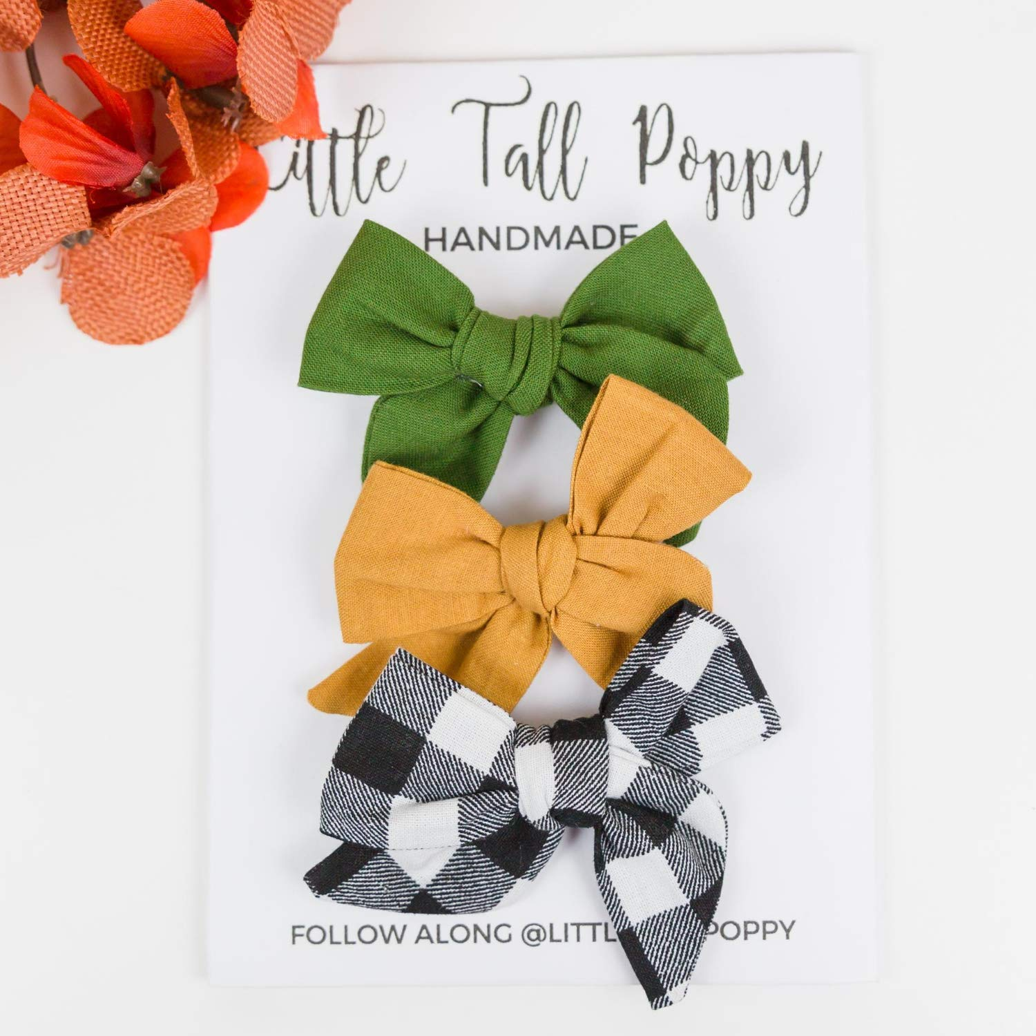 Headbands or Hair Clips in Brown and Orange Plaid Green Newborn Baby Bows