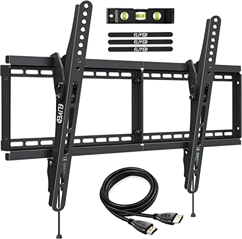 Tilt TV Wall Mount Bracket for Most 37-70 Inch LED LCD Flat Curved TVs, TV Mount Fits 16 , 18 , 24 Wood Studs and Concrete Wall, with Max VESA 600x400mm and 110lbs Loading Capacity