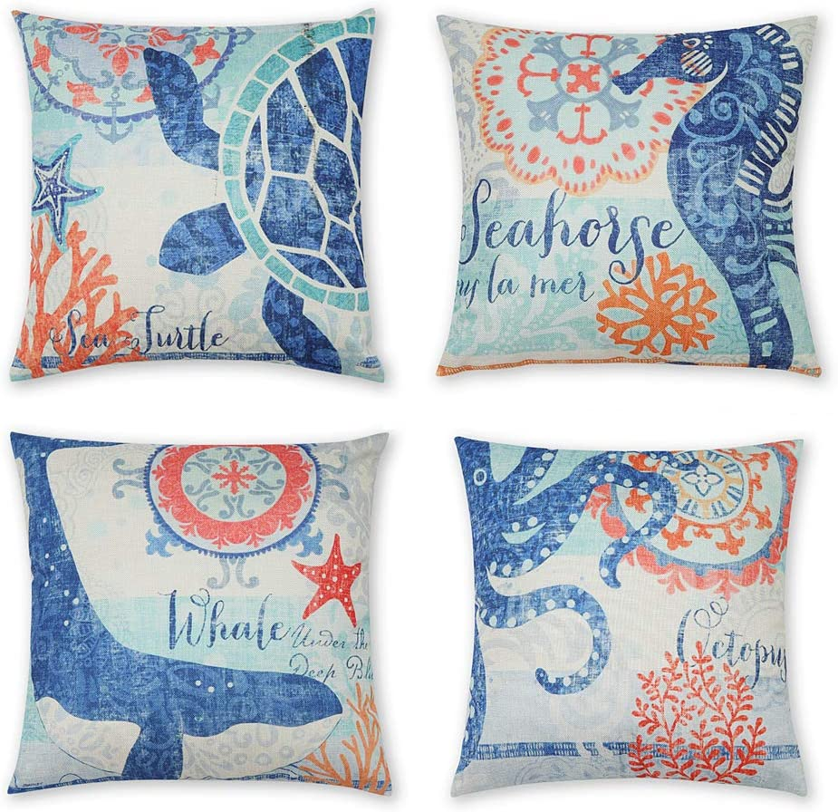 INSHERE 4 Pack Ocean Theme Throw Pillow Covers Decorative Mediterranean Style Square Pillowcases Cotton Linen Cushion Cover 18 X 18 Inch (Ocean-A)