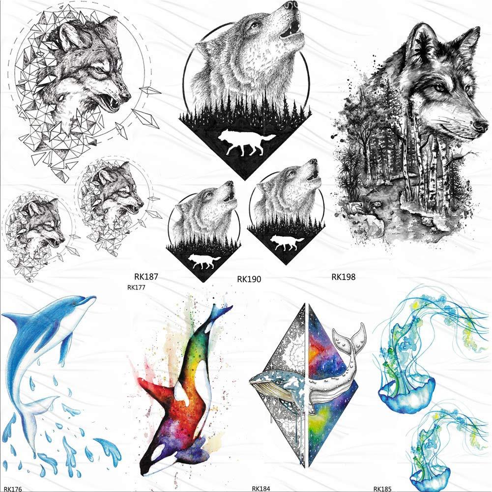 Etiqueta Engomada Del Tatuaje Temporal Sleeves Geometricwolf Howl ...