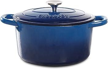 Crock Pot 69145.02 Artisan 7 Quart Enameled Cast Iron Round Dutch Oven, Sapphire Blue