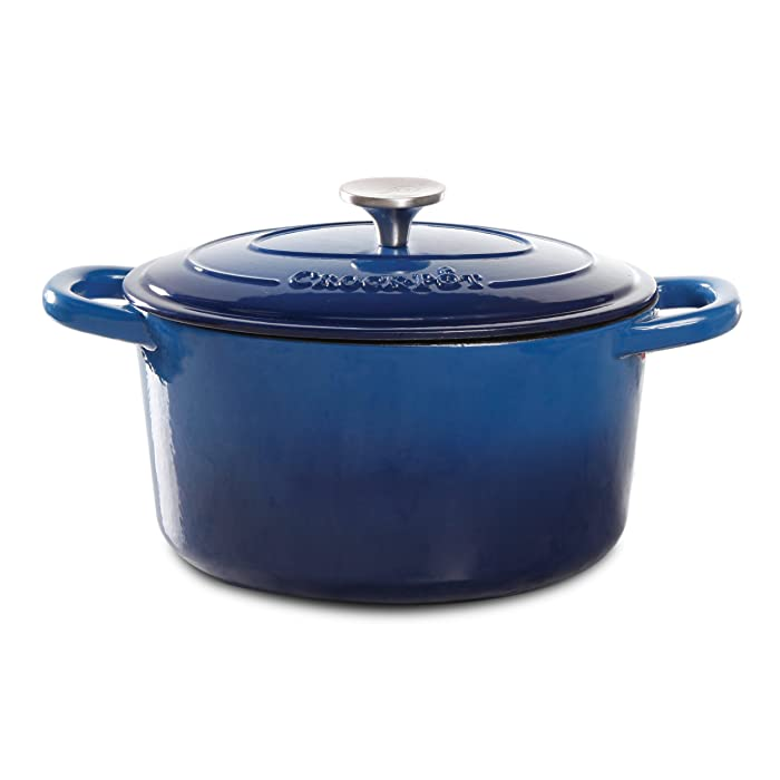Crock Pot 69145.02 Artisan 7 Quart Enameled Cast Iron Round Dutch Oven, Sapphire Blue