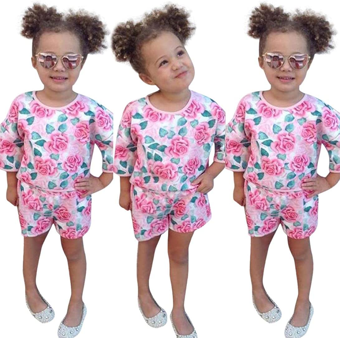 Yannerr 2pcs Bebé niña bordados florales camiseta tops+pantalones cortos conjunto,Recién nacido manga larga blusa suéter chaqueta camisa mono vestido partes de arriba pijamas traje ropa (18M): Amazon.es: Ropa y accesorios