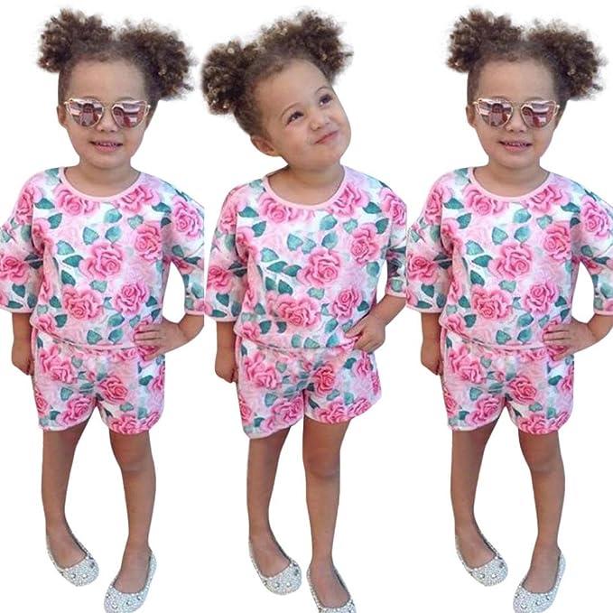 Yannerr 2pcs Bebé niña bordados florales camiseta tops+pantalones cortos conjunto,Recién nacido manga