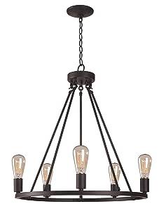 Kenroy Home Hixon 5 Light Chandelier 24.5-31.5 Inch Height, 23.5 Inch Width Graphite