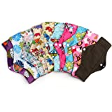 HailiCare 11.8 Inches Reusable Sanitary Pads, Pack of 10 - Regular Flow, Washable Menstrual Cloth Panty Liners with Bamboo-charcoal Absorbency, Random Color