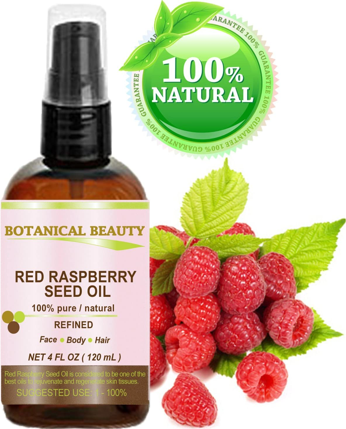 Botanical Beauty - Aceite de Semilla de Frambuesa Roja. 100% Puro / Natural / Sin Diluir / Prensado en Frío. 120ml. Para Cuidado de la Piel, Cabello, Labios y Uñas. 'Uno de los Mejores Antioxidantes,