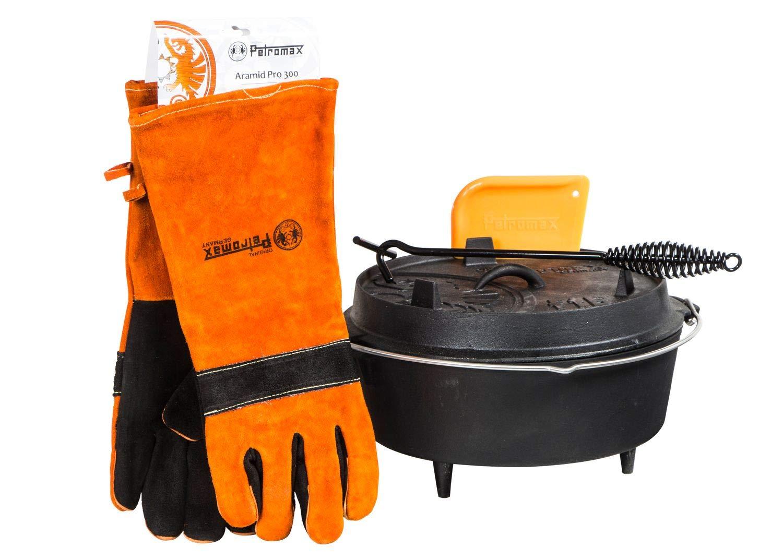Petromax ft6 Feuertopf mit Füße Dutch Oven Set inkl. Schaber Handschuhe Deckelheber