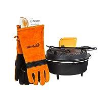 Set Petromax Holzkohlegrill schwarz Gusseisen klein Charcoal Grill Camping Garten Picknick ✔ rund