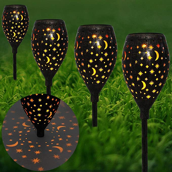 Amazon.com: Large Solar Lights Pathway Outdoor Garden Path Metal Waterproof Auto On/Off Bright Warm Wireless Sun Powered Landscape Lighting for Yard Patio Walkway Landscape Spike Path Light(2 Pack): Lamps & Light Fixtures