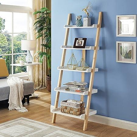 Mesas de centro MEIDUO Estantería de Escalera de 5 estantes Inclinada, estantería de 5 Niveles Estante de Pared de estantería de exhibición Escritorio de computadora (Color : White+Wood Color): Amazon.es: Hogar