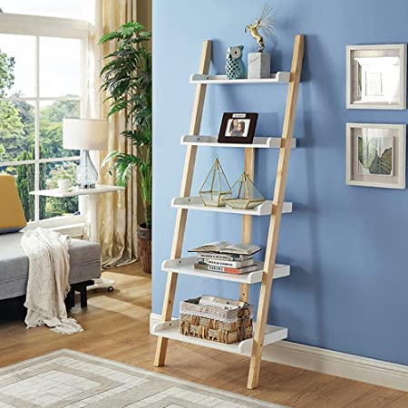 Table MEIDUO 5 Shelves Leaning Ladder Bookshelf5 Tiers Bookcase Display Wall Storage Shelf Unit