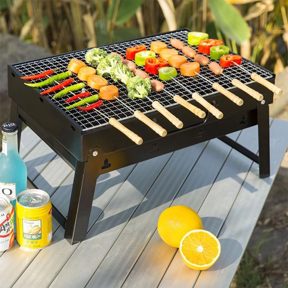 Folding Charcoal Barbecue Grill, Perfect Collapsible High Barbecue Grill - Portable Lightweight Charcoal Grill, Outdoor Camping Barbecue Enthusiasts Travel Park Backyard