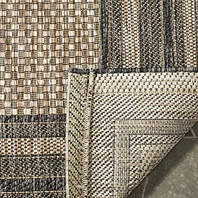 Safavieh Courtyard Collection CY8475-37312 Natural and Black Indoor/ Outdoor Area Rug