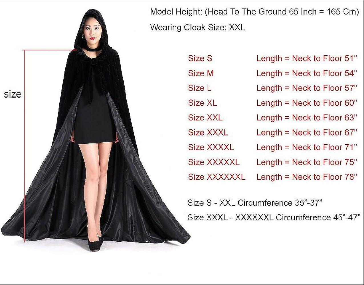 Newdeve Halloween Hooded Cloak Medieval Wedding Cape Black Robe Cosplay