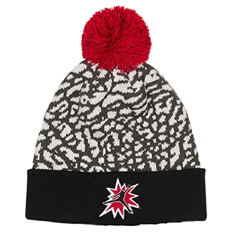 b32e295b6eb Amazon.com  Boy s Jordan 5 Pom Beanie Hat 8 20 White Gym Red  Sports ...