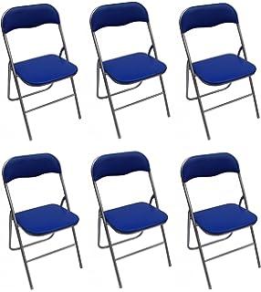 Juego de 6 sillas plegables multiusos PVC azul metal: Amazon ...