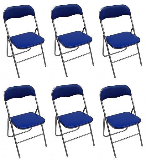 La sedia spagnola Sevilla Pack di sedie pieghevoli imbottite, Alluminio,  Blu, 46 x 43.5 x 78 cm, 6 pezzi