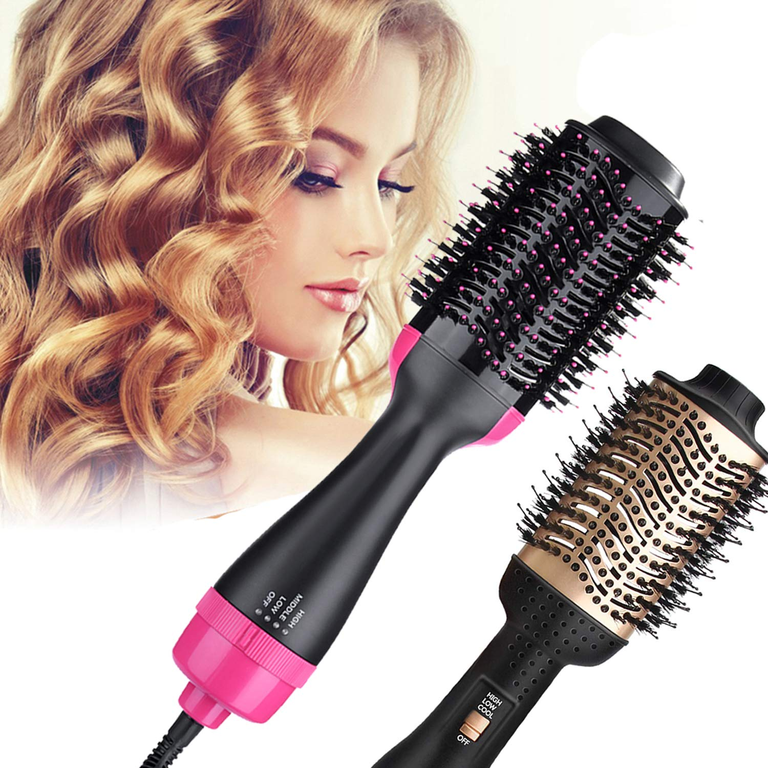 B.Star One Step Hair Dryer and Styler Volumizer Oval Hot Air Brush Hair Dryer Brush Dry Straighten Curl Smooth Frizz with Ionic Technology