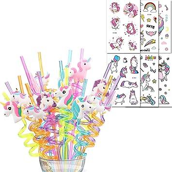 Shinelee 26 Piezas Unicornio Pajitas de Plastico Reutilizables, Tatuajes Temporales, Artículos de Fiesta Unicornio Cumpleaños Niños