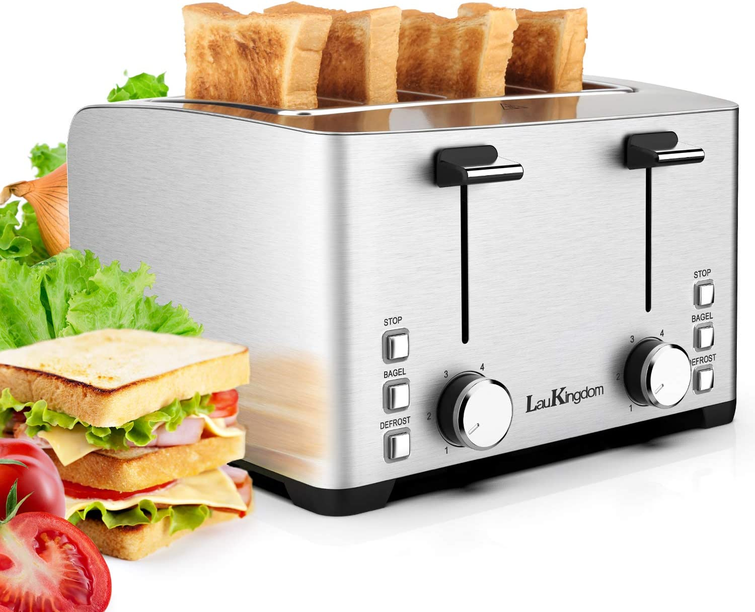 "4 Slice Toaster,LauKingdom Extra Wide Slot Toaster with 6 Bread Shade Settings,Bagel/Defrost/Stop Function,1.57"" Wide Slots Toaster,1500W Silver"