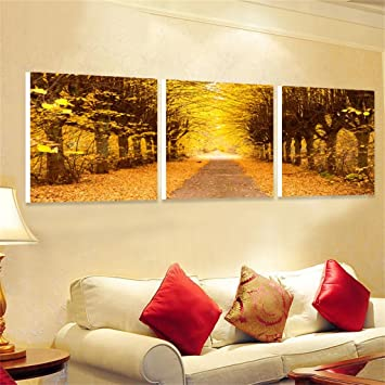 Moderne Minimalistische Wohnzimmer Malerei Sofa Wandmalerei Schlafzimmer  Hängende Malerei Herbst Wald Landschaft ( Größe : A
