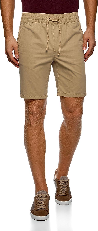 oodji Ultra Hombre Pantalón Corto de Algodón con Cinturón Elástico y Cordones