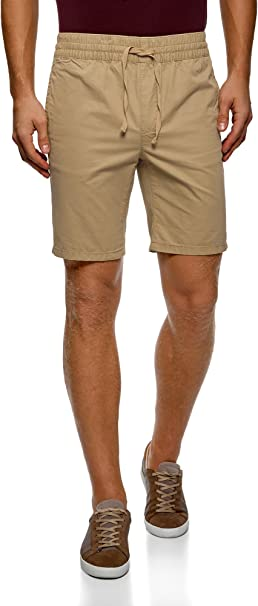 TALLA 36. oodji Ultra Hombre Pantalón Corto de Algodón con Cinturón Elástico y Cordones