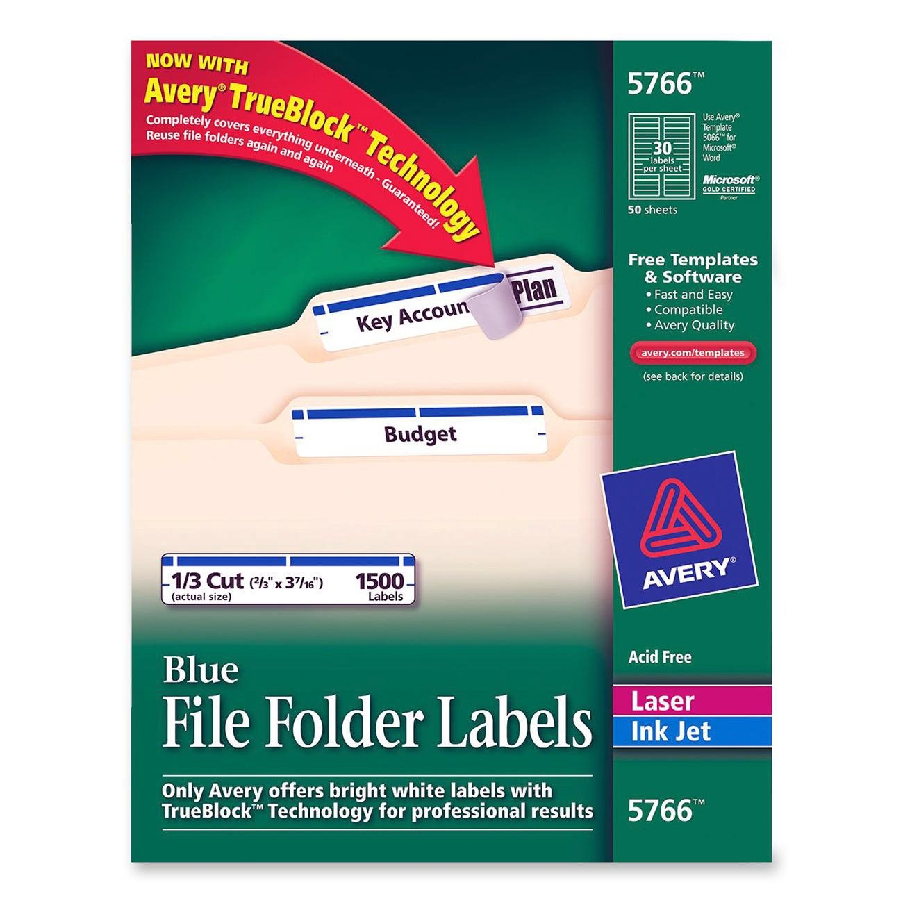 Amazon.com : Avery Blue File Folder Labels for Laser and Inkjet ...