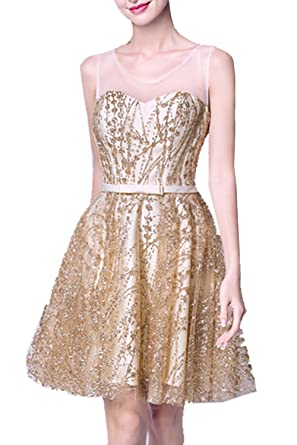 Short Sequin Prom Dress Gold High Neck S