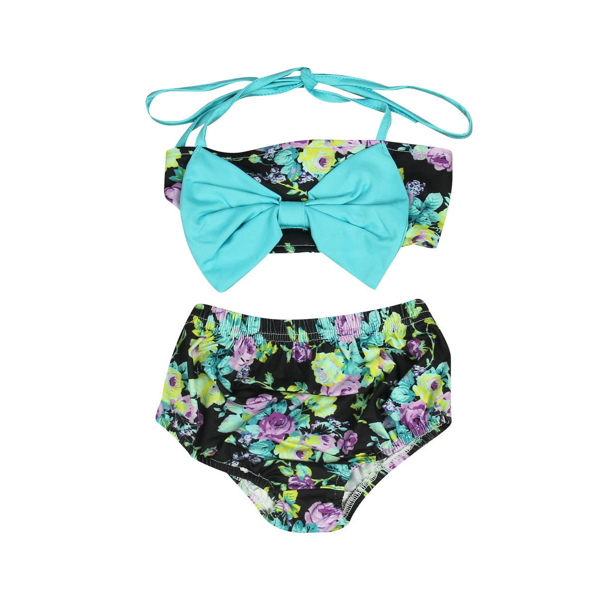 921a74d62 2pcs infantil bebé niñas trajes de baño lazo Floret Bikini Bañador  Beachwear Swimsuit Swimwear ...