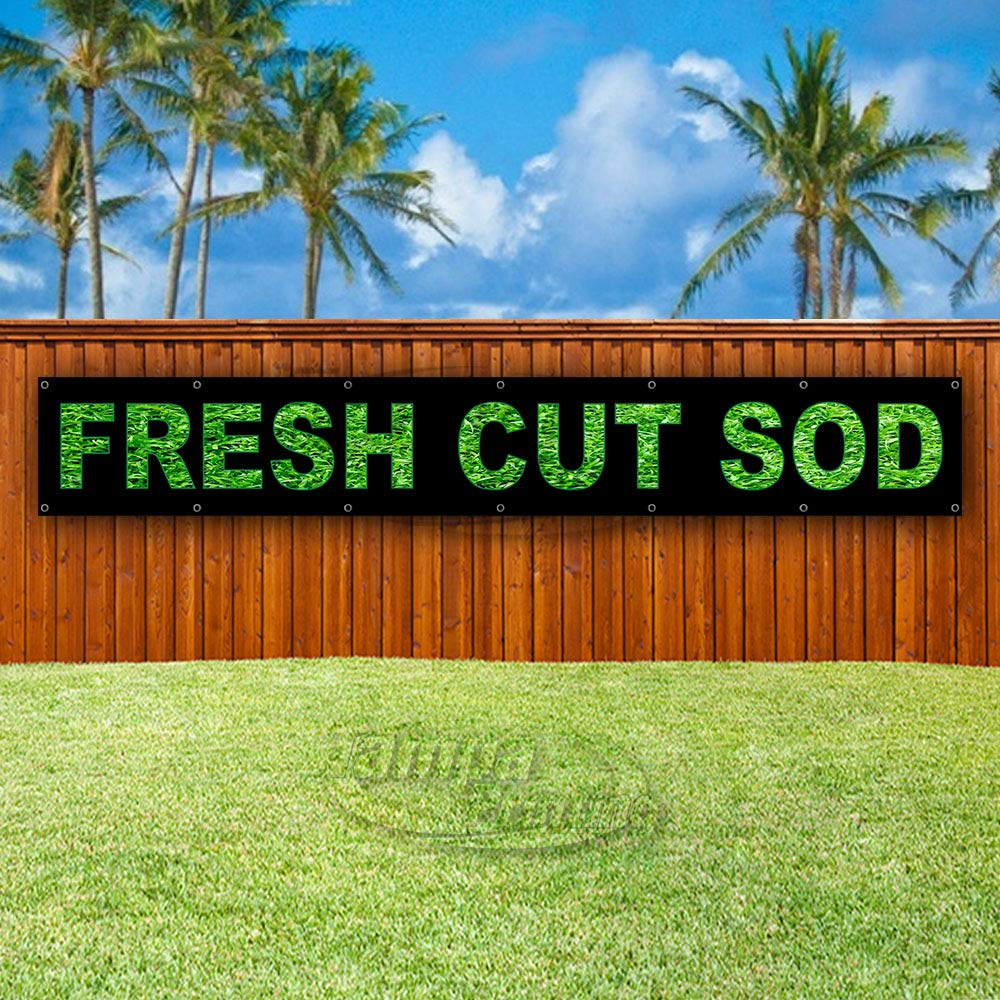Flag, Many Sizes Available Fresh Cut SOD Extra Large 13 oz Heavy Duty Vinyl Banner Sign with Metal Grommets New Advertising Store