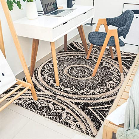 Hand Woven Bohemian Medium Size Cotton Kilim Home Decorative Rug Traditional Flat Woven Rug Ikat Hand Woven Blue Color Area Rug 3x5 Feet
