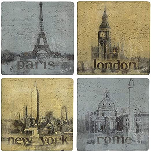 Romantic Cities AWCLH1 Thirstystone Ambiance Travertine Coaster Multicolored
