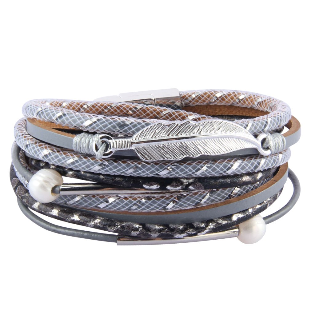 COOLLA Women's Leather Bracelet - Feather Wrap Bracelet Pearl Cuff Wristband for Girl, Teens Birthday Gift (Grey)