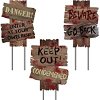 "Y-STOP Beware Signs Yard Stakes Halloween Decorations Outdoor Creepy Assorted Warning Sign, 3 Pieces, 12"" x 9"""