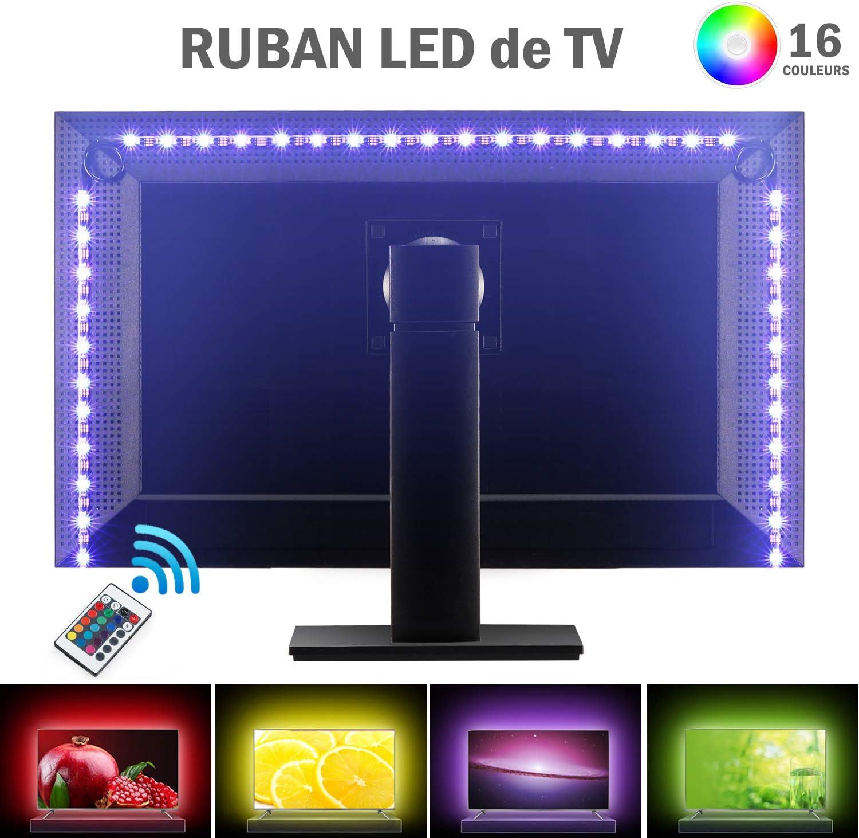 Kohree Ruban LED RGB Flexible Bandeaux LED RGB USB Bande lumineuse Lumi/ère Ambiance Multicouleur avec T/él/écommande R/étro/éclairage pour T/él/éviseur Ecran Ordinateur Salon Bureau 90cm 27leds