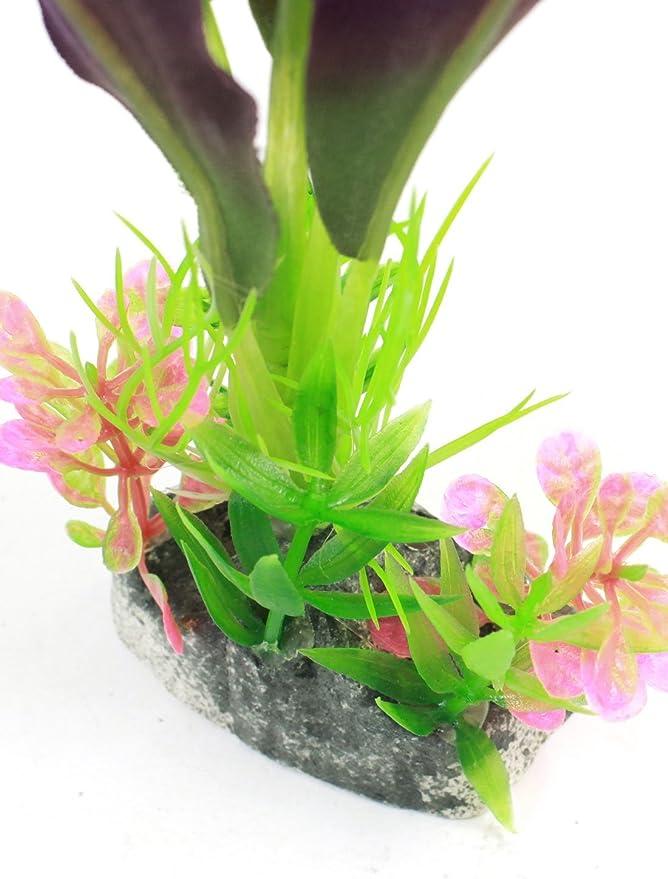 Amazon.com : eDealMax Planta pecera decoración de simulación acuática 8, 7 pulgadas de alta Verde Violeta : Pet Supplies