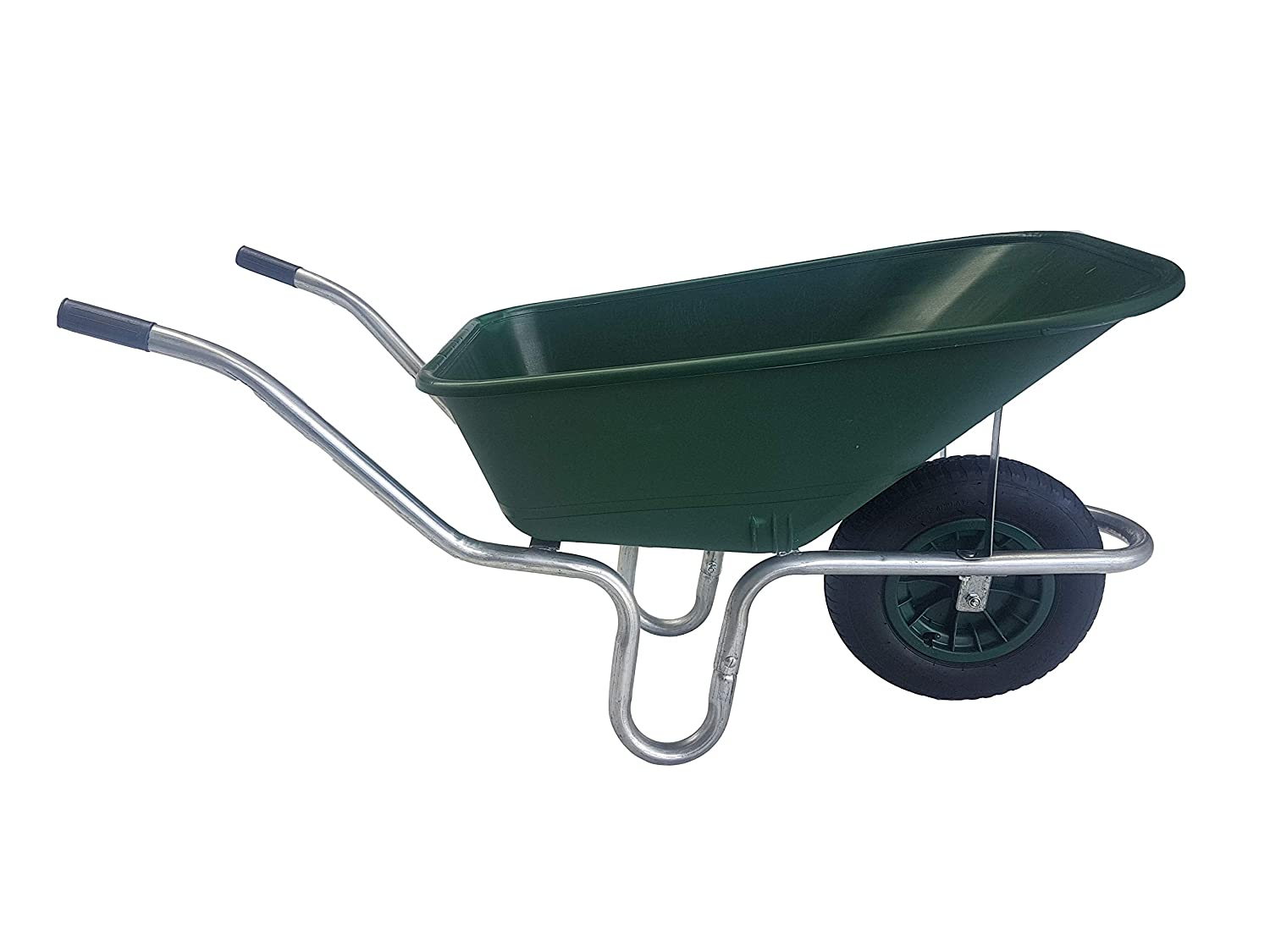 110 Litre Large Green Plastic Wheelbarrow With Puncture Proof Foam Filled Wheel Ketoplastics