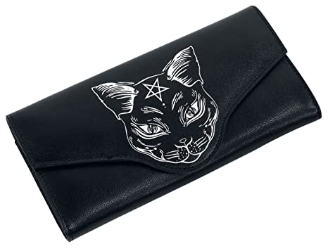banned apparel nemesis black cat face halloween star gothic wiccan vegan wallet