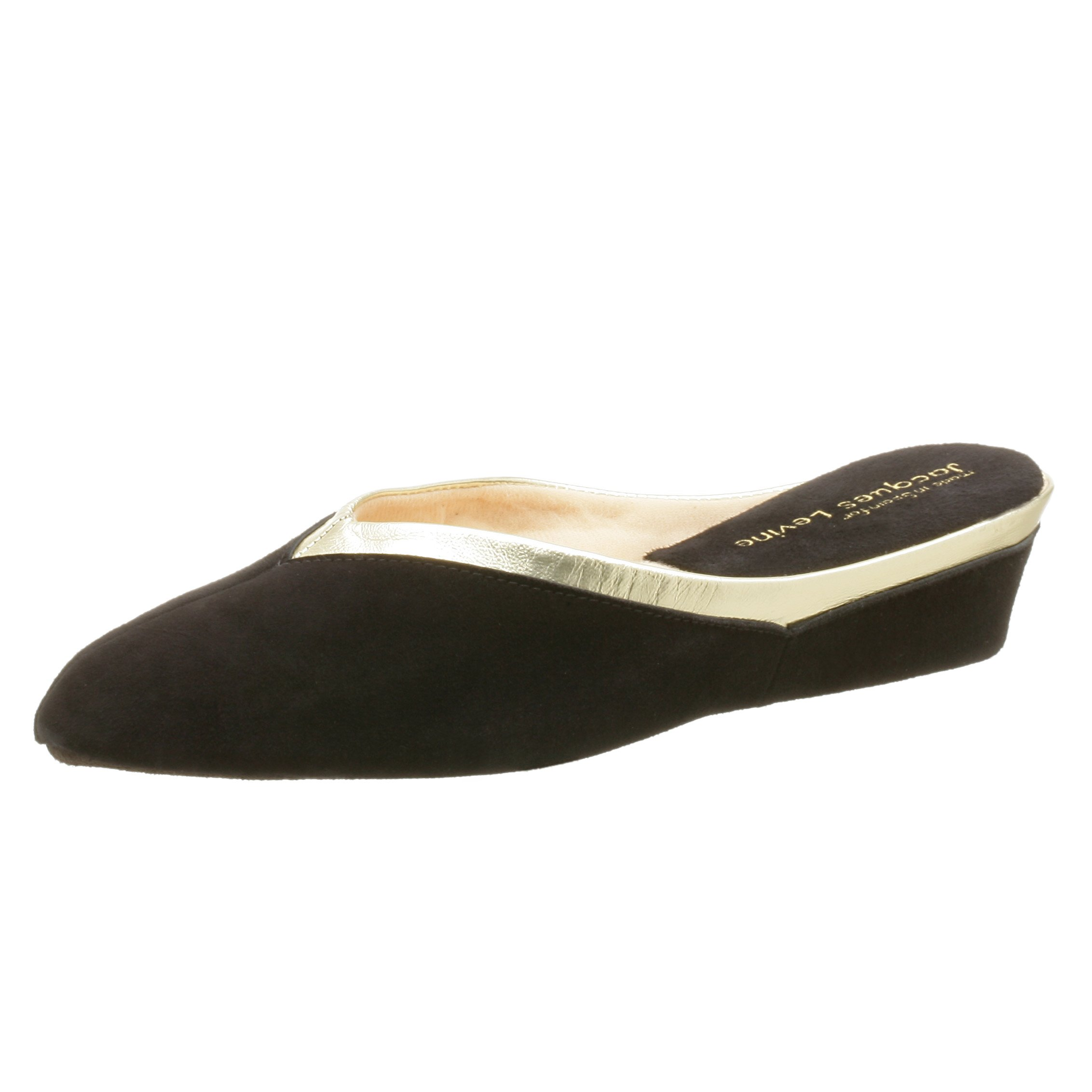 Jacques Levine Women's 4640 Throat Collar Scuff Slipper,Black/Gold,6.5 M