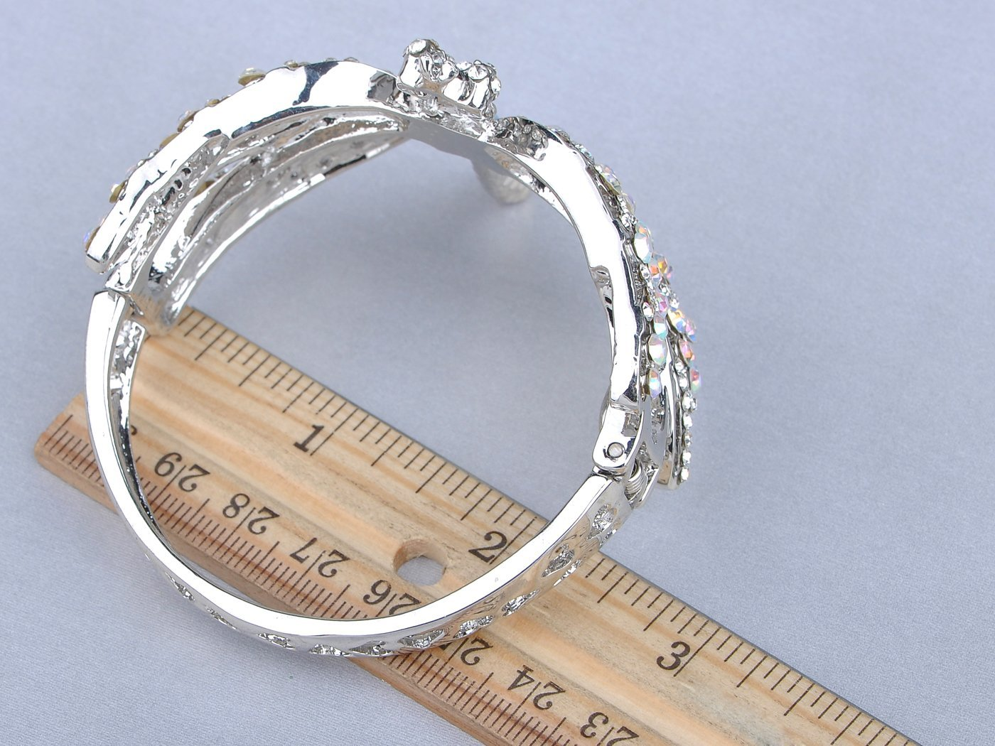 Alilang Womens Silvery Tone Clear Rhinestones Dragonfly Heart Cutout Bangle Bracelet by Alilang (Image #2)
