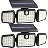 Solar Lights Outdoor, 176 LED Wireless Led Solar Motion Sensor Lights Outdoor, 3 Heads 270. Wide Angle with 3 Lighting Modes,
