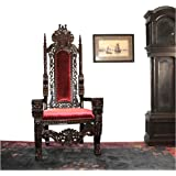 Giant Mahogany Throne Chair for King / Queen or maybe Santa Claus antique red velvet WOW