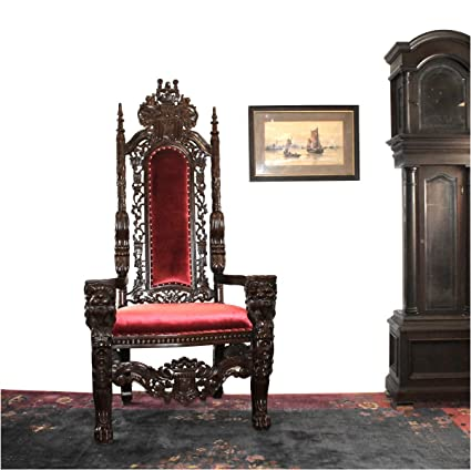 Giant Mahogany Throne Chair for King / Queen or maybe Santa Claus antique  red velvet WOW - Amazon.com: Giant Mahogany Throne Chair For King / Queen Or Maybe