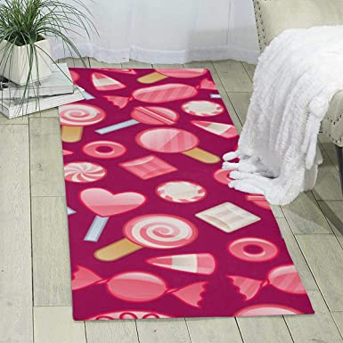 Amazon Com Workout Mat For Yoga Pink Candy Print Area Rug Runner