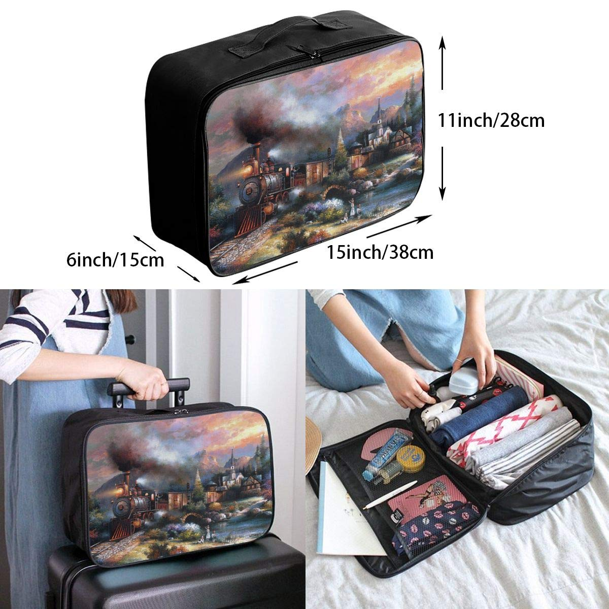 Travel Luggage Duffle Bag Lightweight Portable Handbag Fantasy Train Track Pattern Large Capacity Waterproof Foldable Storage Tote