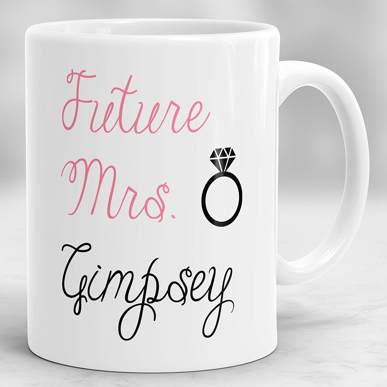 The Future Mrs Named Wedding Coffee Mug Personalised Tea Mug In Love Engagement