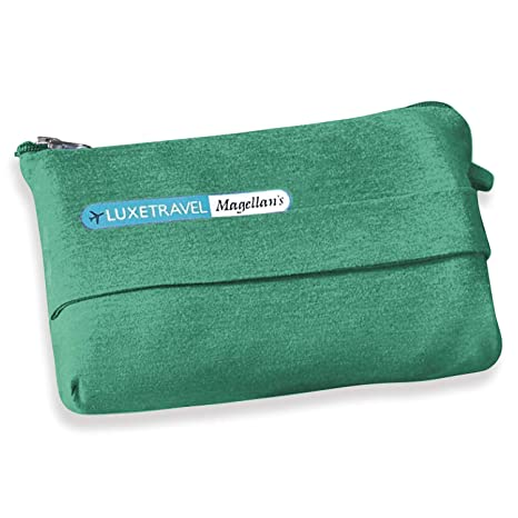 Portable Concerts or Picnics; Back Strap to Attach to Luggage Taxi Cabs Lightweight Travel Blanket with Bag for Airplane Green Soft