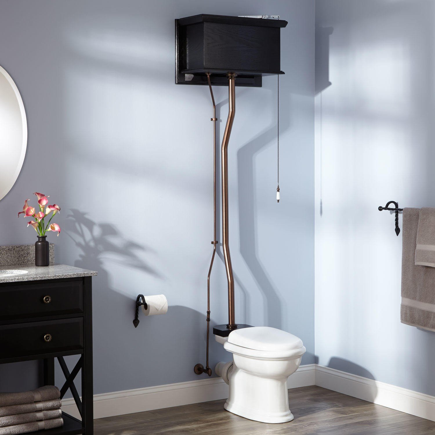 Naiture Black Oak High Tank Pull Chain Water Closet With Rear Outlet Bowl And Oil Rubbed Bronze Finish Hardware by SH